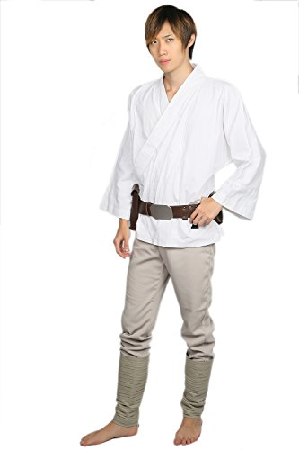 Luke Kostüm Cosplay Top Hose Set Erwachsene Fancy Dress Kleidung Anzug Halloween Party Outfit mit Gürtel Tunika Uniform (Custom Luke Skywalker Kostüme)
