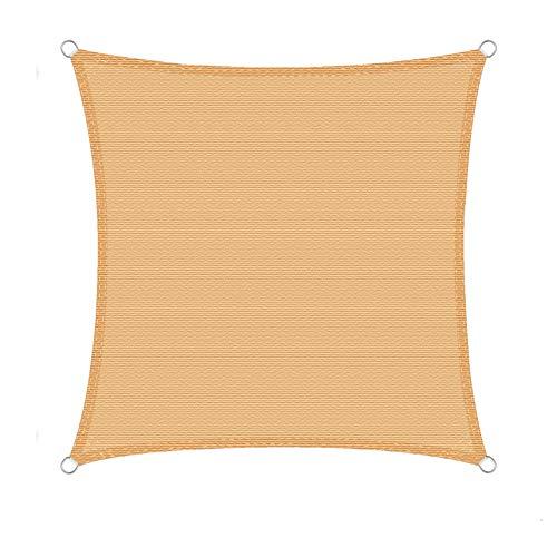 WOLTU Sonnensegel Quadrat 5x5m Sand atmungsaktiv Sonnenschutz HDPE Windschutz mit UV Schutz für...