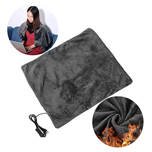 Manta climatizada, calefacción eléctrica de Invierno Manta térmica Silla de Oficina Silla de Oficina, Carga USB, Manta de Franela, Manta para sofá Cama(Gray 45 X 45 Cm)