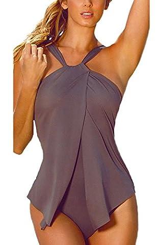 Minetom Femme Été Vacances Sexy Bikini Body Guide Tankini Push Up Grande Taille Maillot de Bain 1 Pièce Maillots Une Pièce Café FR 38
