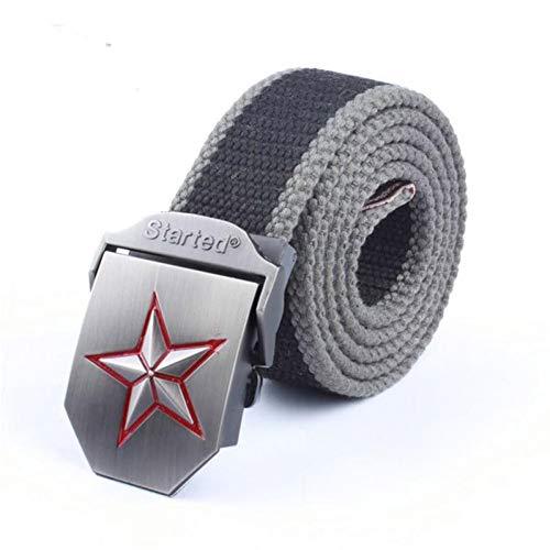 CHOUBAGUAI Gürtel Männer & Frauen Leinwand Gürtel 3D Red Star Buckle Mode Starke Armee Taktische Gürtel Herren Military Gürtel Multi -