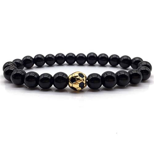 QWERST Bracelet Mode Krone Fußball Armband Schlicht Und Klassisch Stein Perlen Armband, EIN