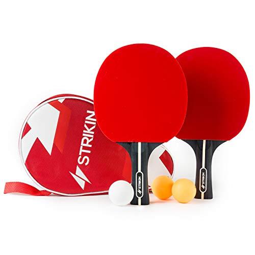 Premium Tischtennis-Set · 2 Allround Tischtennisschlaeger · Schläger Hülle ·3x3 Stern Bälle · Langlebige Ping Pong Beläge · Ergonomische Griffschalen · Für Profis & Kinder