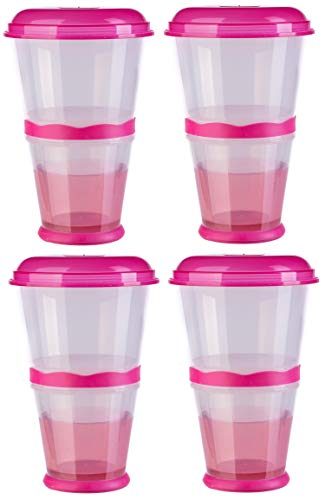 blupalu | 4x Müslibecher to go | isoliertes Milch-Kühlfach | Müsli-Fach | Löffel | 2 go | für unterwegs | praktisch | Cerial Mug | Pink | Party-Becher