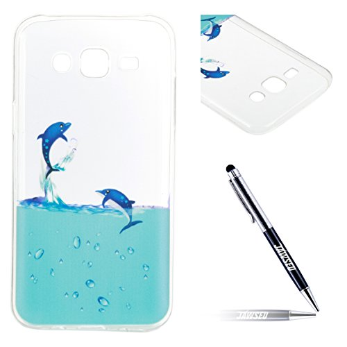 JAWSEU Coque Etui pour Samsung Galaxy J5,Samsung Galaxy J5 Coque en Silicone Transparent,Samsung Galaxy J5 Silicone Coque Cristal Clair Etui Housse,Samsung Galaxy J5 Soft Case Gel Protective Cover,Ult dauphin