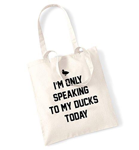 "I'm only parola in lingua inglese ""to my duck oggi tote bag natur Taglia unica"