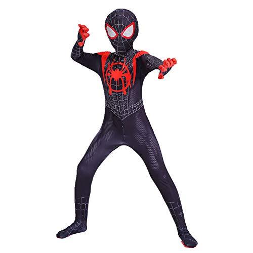 BLOIBFS Kostüm Jungen Spiderman Cosplay Kostüm Jumpsuit Deluxe Kostime Herren Halloween Kostüm Masken Film Kostüm Requisiten Bodysuit,Child-M