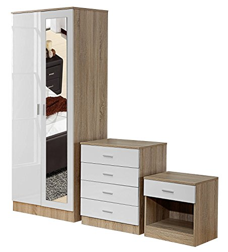 Ossotto Mirrored High Gloss 3 Piece Bedroom Furniture Set – Soft Close Wardrobe, 4 Drawer Chest, Bedside Cabinet (White on Oak)