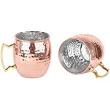 Zap Impex® Pure Copper Lined Brass Handle Nickel Hammered Moscow Mule Mug Bowl 16Ounce Set of 2