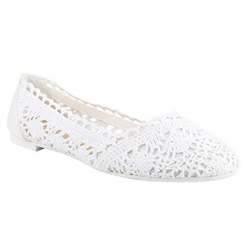 Damen Ballerinas Bequeme Flats Slipper Spitze Häkeloptik Pailletten Schleifen Ballerina Slip-Ons Schuhe 136114 Weiss Total 40 Flandell -