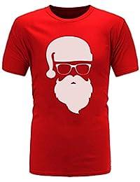 Longzjhd Herren Stylisch Weihnachten T-Shirts Weihnachts-Shirt Fun Shirt  Mit Rundhalsausschnitt Ugly Rundhals 8fc8071c90