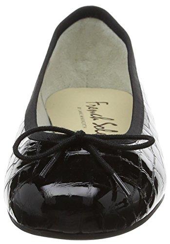 French Sole Damen Henrietta Patent Croc Ballerinas Schwarz - Schwarz (Black)