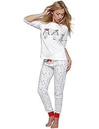 8c49b62826 SENSIS stillvoller Baumwoll-Pyjama Schlafanzug Hausanzug aus feinem  T-Schirt und bequemer Hose, made in…