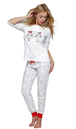 SENSIS stillvoller Baumwoll-Pyjama Schlafanzug Hausanzug aus feinem T-Schirt und bequemer Hose, Made in EU (L (40), Pinguin)