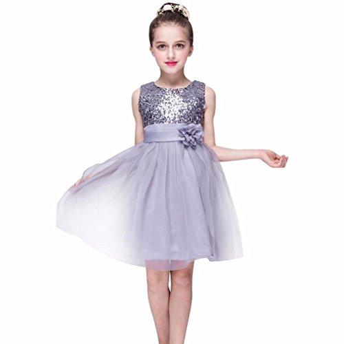 Baby Mädchen Kleid, Kleinkind Bling Pailletten Spitze ärmellose Prinzessin Outfits (6-12 Monate, Silber) (Kleid Taufe Gestickte Spitze)