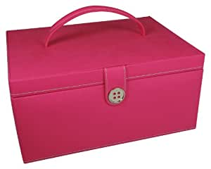 Button It Boîte à couture rose vif Coton