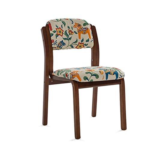 Golden_flower Stuhlhocker Weicher Stuhl Holz Esszimmerstuhl Einfache Rückseite Schreibtisch Stuhl Stoff Cafe Esszimmerstuhl, f -