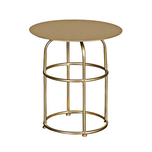NDY Gold Eisen Kunst kleinen runden Tisch Wohnzimmer Sofa Tisch Schlafzimmer Freizeit kleinen Couchtisch Balkon kleinen Couchtisch - Schlafzimmer Lackiert Beistelltisch