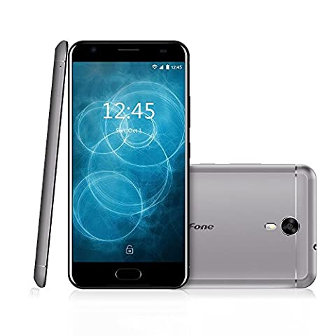 Ulefone Power2 Smartphone téléphone portable Débloqué 4G incroyable Batterie 6050mAh,9V / 2A Charge rapide,5.5 pouce FHD écran,Android 7.0,4 GB RAM 64 GB ROM,MTK6750T Quad core 1.5Ghz ,caméra arrière 13MP frontale 8MP,Coque métallique,Empreinte digitale ,Dual sim,wifi,Notification LED,LTE Cat.6 + VoLTE,GSM,WCDMA,FDD-LTE (Gris)