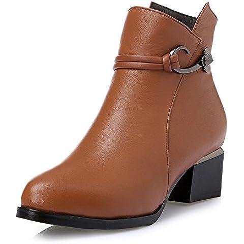 Tobillo de otoño/invierno botas casual cuero redondo cabeza con pesadas botas con las señoras cargadores cortos , brown ,