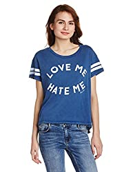 Tommy Hilfiger Womens Solid T-Shirt (P7AJK110_Blue_X-Small)