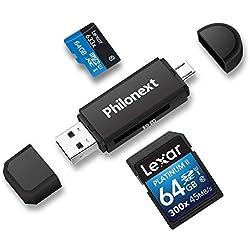 Philonext Lecteur de Carte mémoire SD/Micro SD et Adaptateur Micro USB OTG vers USB 2.0 avec fiche USB Standard Micro USB pour PC et Ordinateur Portable avec Fonction OTG
