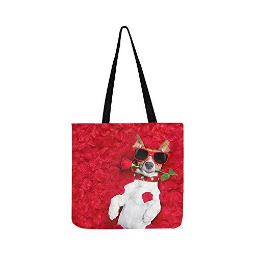 Ack Russell Hundetasche mit rotem Blumendesign, Segeltuch, Handtasche, Umhängetasche, Umhängetasche, Geldbörse für Damen und Herren