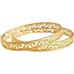 Jfl - Jewellery For Less Traditional Ethnic One Gram Gold Plated Designer Bangle Set For Women