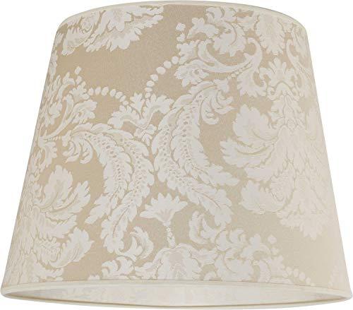 Konischer Stoff Lampenschirm Stehlampe für E27 Barock-Muster Ecru Weiß Textil Schirm Stehleuchte