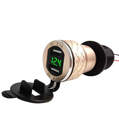 MMLC 4.2A Aluminium Motorrad Dual USB Ladegerät Din Buchse Voltmeter für Motorrad USB Charger (Gold) Gold Dual Wall Plate