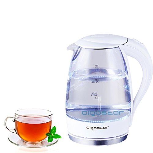Preisvergleich Produktbild Design Glas Wasserkocher Teekocher OVP Neu Günstig Qualität Led Blau Kabellos... … (Weiß)