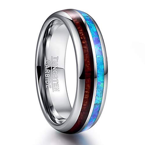 Nuncad Damen Herren Ring 6mm aus Wolfram Silber mit Opal Blau + Koa Holz für Hochzeit Ehe Partnerschaft Party Alltag Größe 65 (25)