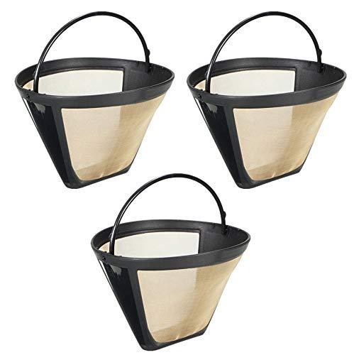 3 x Permanent-Kaffeefilter für Cuisinart 6-12 Tassen, waschbar, wiederverwendbar, konisch, Tonart DCC-1000BK DTC-975BKN DCC-750 DCC-1100 DCC-1200 DCC-2200 DCC-2600 DCC-2650 DCC-2750 DCC-2800 DCC-290 -