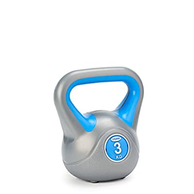 York Fitness Vinyl Kettlebell 8kg - Home Gym Equipment Perfect for Bodybuilding Weight Lifting Training Kettlebell from York