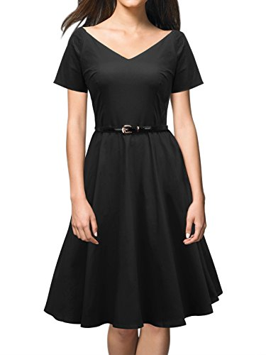 iLover Stylish 40s 50s 60s Rockabilly Off Shoulder Vintage Cocktail Swing Dress