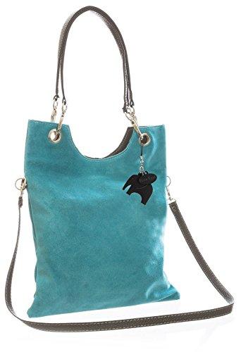 Big Handbag Shop in pelle scamosciata, Maniglia superiore sera frizione borsa a tracolla Turquoise (FZ575)