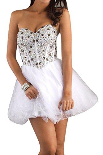 Gorgeous Bride Modisch Herzform A-Linie Organza Mini kristall Cocktailkleid Partykleid Abendkleid Weiß