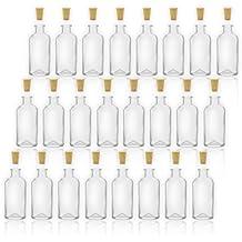 Frascos de farmacia/Botellas de cristal con corcho, 100ml/10cl, 24 botellas vacías de cristal para rellenar/botellas para especias, licores, etc.