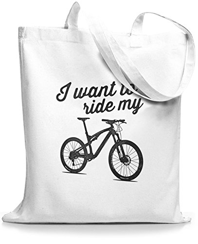 StyloBags Jutebeutel / Tasche I want to ride my MTB Weiß