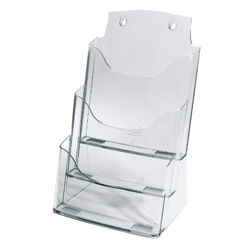 SIGEL LH130 Tisch-Prospekthalter aus Acryl mit 3 Fächern, DIN A4, transparent / Prospektständer - weitere Größen