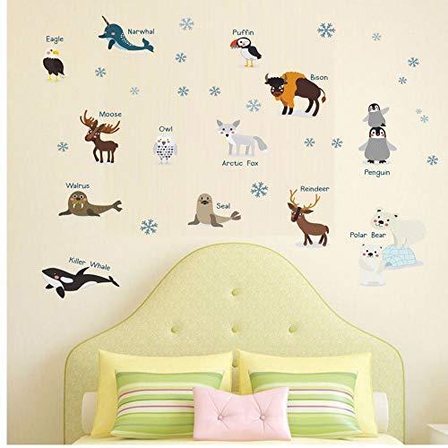 White Arctic Sea Animals Penguin Seal Fox Wall Sticker For Nursery Room Wall Art Decor Cute Polar Bear Diy Decals Home Decor