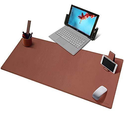 Maidern Gaming Mauspad Leder Schreibtischunterlage Büro Mausmatte with Pen Holder and Cell Phone Stand (100x40cm,Brown) -