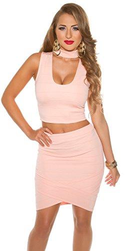 Damen Minirock asymmetrisch mit Zip - Eleganter Midirock Business Look Farbauswahl Gr. S-L Apricot