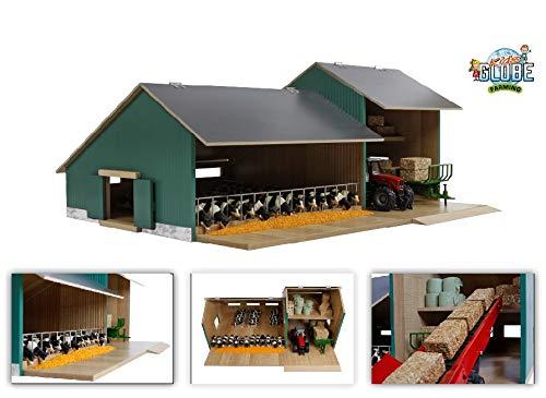 Van Manen Kids Globe Farming Kuhstall mit Werkstatt - aus Holz, Maßstab 1:32, mit aufklappbarem Dach - 610200