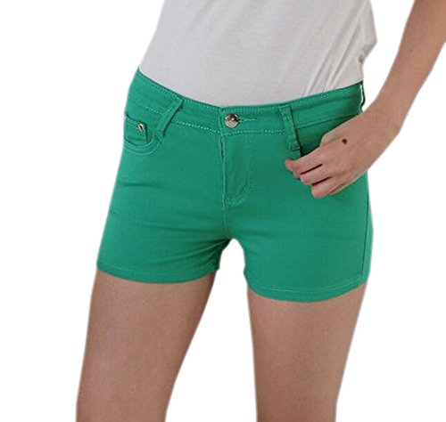 DELEY Donna Solid Stretch Caldo Pantaloni Corti Juniors Attillati Jeans del Denim Shorts Verde S