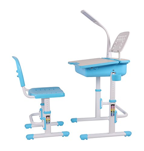 Leomark Ergonomisch Kinderschreibtisch SMART schreibtisch und Stuhl höhenverstellbar Farbe Blau mit Schublade