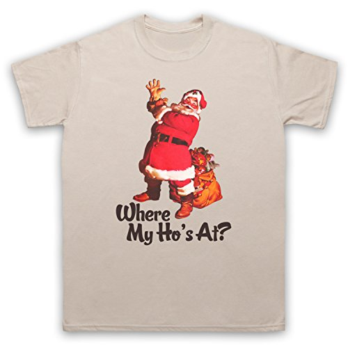 Where My Ho's At Santa Claus Father Christmas Funny Parody Slogan Herren T-Shirt Beige