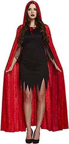 Adults Red Deluxe Velvet Hooded Cloak Vampir Cape Halloween Unisex Fancy Dress