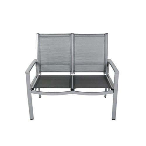 greemozion 2er Gartenbank 120267, Balkonbank aus schwarzem Textilene und silbernem Aluminiumgestell,...