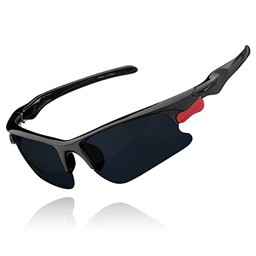 FULLNESS Sports Polarized Sunglasses Running Glasses UV400 Windproof Dust-proof Cycling Driving Golf Ski Trekking Fishing Goggles for Mens and Womens (Black & Grey)